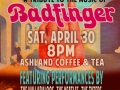 Flyer for BADFINGER Tribute show, April 2016