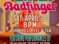 Flyer for BADFINGER Tribute show, April 2016